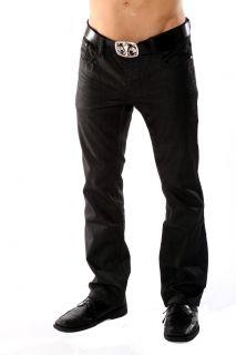 Mens Rocker Style Black Coated Jeans Justing Jeans