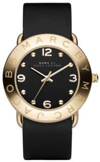 Marc Jacobs Gold Bezel Black Leather Womens Watch MBM1154