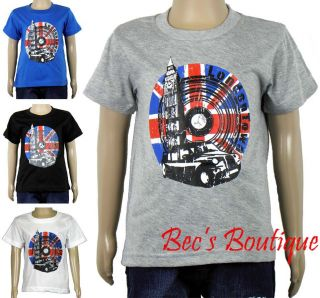 Boys Toddlers T Shirt London Town Union Jack Flag Top Kids Clothing 3