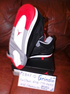 Nike Air Jordan Retro 4 IV Bred 2012 Black Red Breds Size 9 9 5 10 5