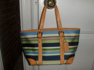 Coach Authentic Blue Tan Leather Stripe Small Handbag Purse L3J 7744