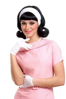 Jackie O 50s Black Costume Wig with Detachable Headband
