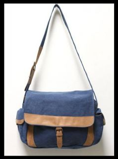 Bean Sunwashed Canvas and Leather Messenger Bag Blue RARE Color