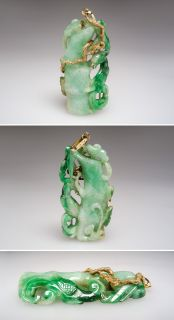Jadeite Jade Fenghuang Pendant Solid 14k Gold Estate Jewelry