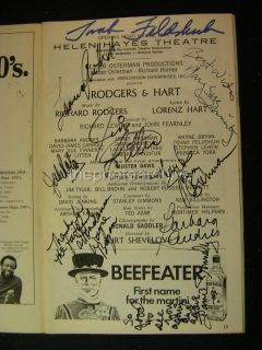 Rodgers Hart Cast Autographed Signed Helen Hayes Theatre Playbill 117J
