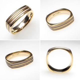Jaffe Squared Band Ring 18K Gold 2 Tone Mens Wedding