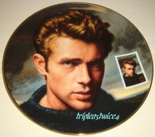 James Dean Plate Based on Deas Postage Stamp Hollywood Rebel BX COA