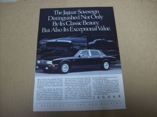 1991 Jaguar Sovereign Advertisement Vintage Ad