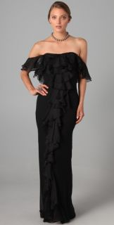 Marchesa Notte Off Shoulder Column Gown with Ruffle