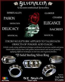 Solid Sterling Silver Handmade 6 Skulls Templar Ring