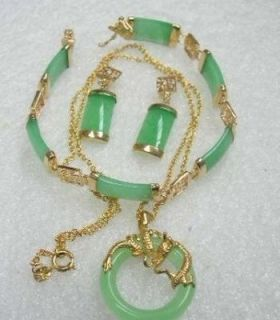 Fashion Jewelry Green Jade Pendant Earring Bracelet Set