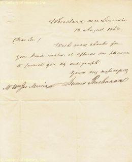 James Buchanan Autograph Letter Signed 08 12 1862