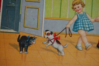 Old Postcard Jack Russell Fox Terrier Dog Pup Scare Cat