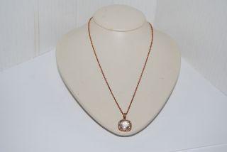 135 Judith Jack Rose Gold Basics Square Stone Pendant Necklace