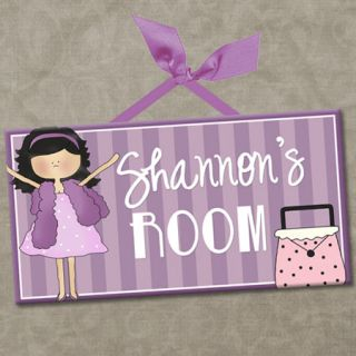 Personalized Kids Room Door Sign Diva Girls Purple Boa Purse Cute Wall