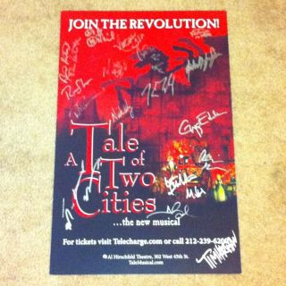 of Two Cities Signed Broadway Poster Musical Playbill James Barbour