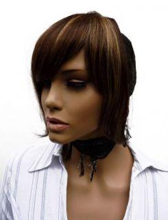 50 Human Hair Brown Blonde Closure Clip in Fringe D824