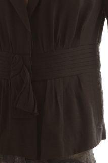 BCBG Max Azria Black Woven Pinticked Summer Jacket Blazer Size M