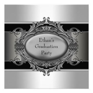 Boys Black Graduation Party Invitations