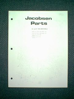Jacobsen Snow Blower Sno Blitz Electric Parts Manual