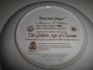 Age of Cinema Fred Astaire Ginger Rogers Collector Plate COA