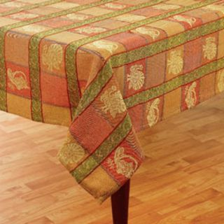Turkey Jacquard Woven Squares Rust Gold Green Fabric Tablecloth
