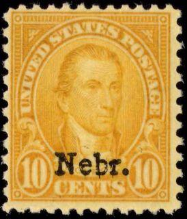 US 679 10¢ 1929 James Monroe Nebr Overprint Fine NH APS Certificate