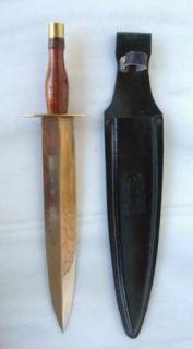 Vintage Brass Wood Handle Long Dagger Short Sword Knife 12 5 8 Blade