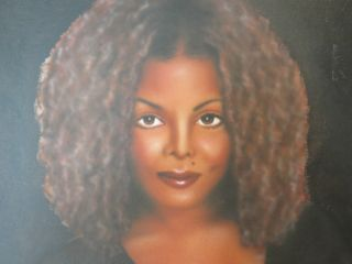 Janet Jackson Airbrushed Oil on Canvas 24x36 Leonard Leon Jones