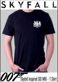 007 James Bond Skyfall Inspired Replica MI6 SIS Black T Shirt in Sizes