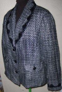 Emma James Woman Beautiful Black White Textured Blazer Size 22W NWOTS