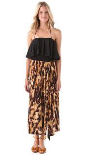 Tbags Los Angeles Halter Flutter Maxi Dress