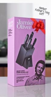 Jamie Oliver 6 Piece Knife & Block Set Stainless Steel Kitchen Knives
