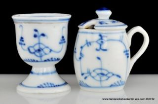 Royal Copenhagen Pattern Egg Cup & Jam Jar Blue Fluted Plain Design