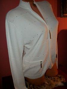 Jamie Sadock White Studded Zip Front Jacket Top M