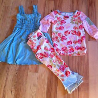Matilda Jane 3 Pc Outfit Serendipity Sz 2 dress sz 4 top Sz 4 Leggings