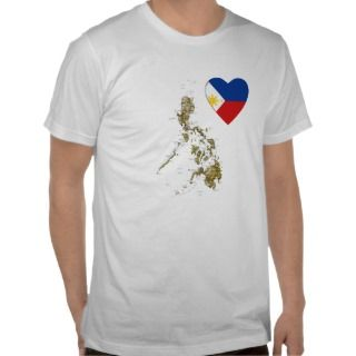 Philippines Flag Heart and Map T Shirt