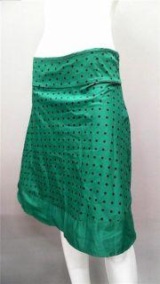 Janette Black Green Polka Dot Ladies Womens M A Line Below Knee Skirt
