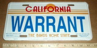 Warrant Rock & Roll Metal Band License car Tag sealed NEW Jani Lane