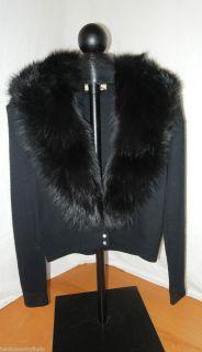 Vintage Womens Small Jay Mar Black Orlon Fur Collar Sweater Rhinestone