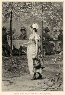 1899 Print Servant Girl Public House Dutch Artist Painting Scenery