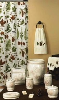 Foliage and Pine Cone Theme Shower Curtain Hooks Bath AccessoriesSet