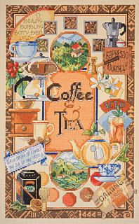 Janlynn Counted Cross Stitch Kit 14 Ct Aida 10x16 Coffee Tea Sampler