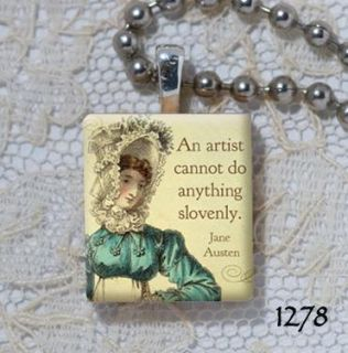 Artist Jane Austen Quote Altered Art Scrabble Charm Pendant