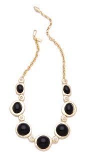 Kenneth Jay Lane Cabochon & Crystal Satin Gold Necklace