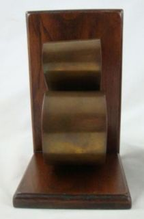 Vintage Mid Century Brass and Wood Musical Clef Note Book Ends Pair