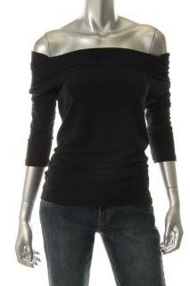 James Perse Black Drape Neck 3 4 Sleeves Casual Top Shirt 3 BHFO