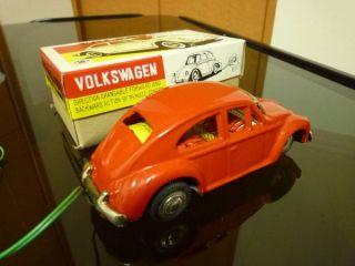 Japanese Masudaya VW Volkswagen New Beetle Sports Car RC Tin Toy