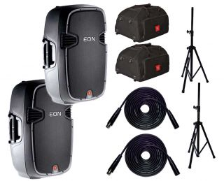 JBL Eon 515XT Pair Wheeled Carry Bags Stands and Cables EON515