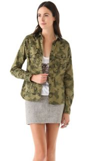 Maison Scotch Army Shirt with Sequin Collar
